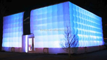 inflatable led cube building / inflatable cube tent with led lights /air led cube tent