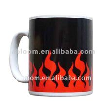 Black Photo Mugs with Red Fire and White Slogan