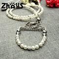 diseñador de moda de color blanco puro bola de perforación correa del perro con perla zqqs061b