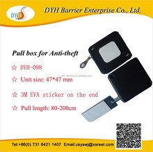 High quality plastic retractable anti theft device pull box with rectangle metal piece
