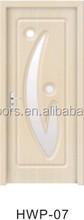 2015 nuevo diseño más reciente de pvc baratos doble interior de rumanía swing estándar de precio de la puerta interior del pvc simple de madera de la puerta con vidrio