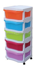 5 tier removable colorful plastic storage drawer or cabinet with wheels