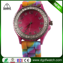 Rainbow color jelly silicone hand watch for girl with mixed colorful strap