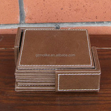Branded hot sale real leather cup mat