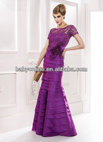 2014 Lace Mother Of The Bride Dresses Sexy Illusion Crew Neck Short Sleeve Tiered Satin Mermaid Vintage Backless Evening Gowns