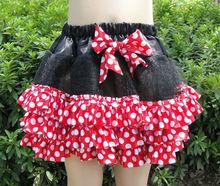 Mini satin ruffle tutu, red polka dots girls skirts with ribbon bow
