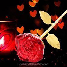 fullblown glass rose for wedding gift