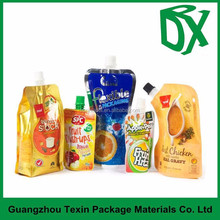 hot sell customized resealable plastic juice drink spout bag with liquid packaging