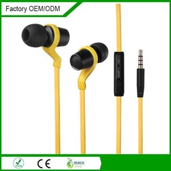 High end quality flat cable mobile phone metal earbuds