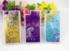 Newest Transparent Plastic Bling 3D Moving Liquid Gold Star Cover Case For Iphone 6 ,for iphone 6 liquid cover