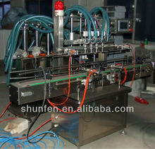 Automatic Piston 4-head Liquid Filling Production Line for water, beverage, oil, soap, honey, lotion (stainless steel)