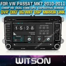 Witson auto dvd per vw passat MK7 2010-2011 dvd gps 1080p dsp schermo capactive wifi 3g anteriore dvr telecamera