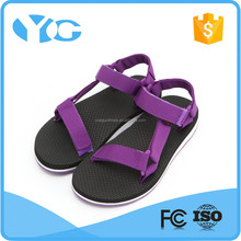 fast drying nylon webbing rubber flat sandal for girls for beach outdoor walking
