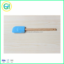 Hot sale blue dough scraper with wooden handle