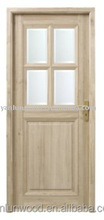 Natural interior use unfinished glass inserted solid wooden door