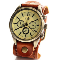 2015 leather wrist 3 dial decoration vintage leather watch