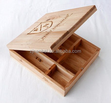 Custom burn stamping logo hinged lid wooden compartment boxes