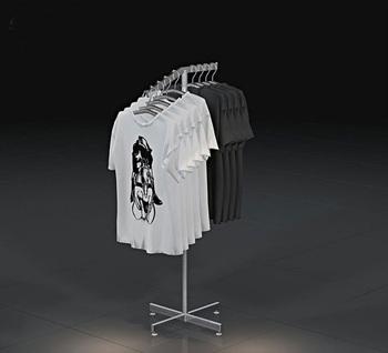 Retail Metal Portable T Shirt Floor Display Stand