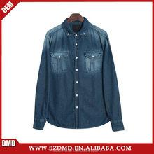 2015 Fashionable design High quality 100%Cotton Long sleeve denim shirt for men
