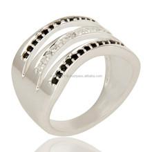 Black Spinal & White Topaz Gemstone Handmade Ring, Fine Silver Indian Artisans Handmade Jewelry Supplier