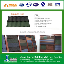 poman type 1300*420 mm colorful stone coated metal roof tile \roofing shingle