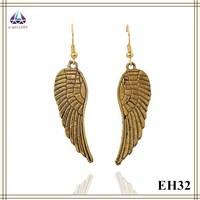 Popular Jewellery Angel Wings Pendant Gold Plated Earring Wholesale