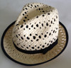 classical white and black crochet straw fedora hat with black band