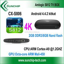 SUNCHIP CX-S806 Android 4K Quad core TV Box /android 4.4 quad core tv box/Amlogic S812 quad core tv box