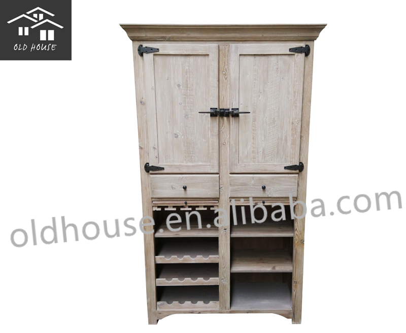 Reclaimed Wood Kitchen Wine Cabinet Oh Cf3006 Buy Kitchen Cabinets