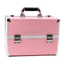 Fashional PU Leather Makeup Box Large Capacity Cosmetic Case Beautiful Pink Makeup Case