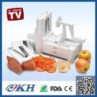 As Seen On TV Manual Vegetable Cutter Tri-blade Plastic Spiral Vegetable Slicer
