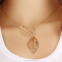 European and American fashion jewelry sliver metal leaf double leaf wild female short paragraph chain necklace