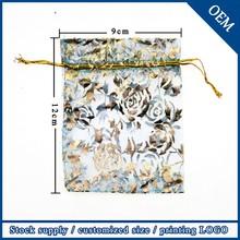 Wholesale 9x12cm Promotional Drawstring Light Blue Rose Bronzing Organza Bags