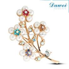 Fashion Pearl Flower Designs 18k Rhinestone Brooch Pin Pearl Crystal Brooch