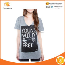 Make your own design new style cotton printed t-shirt with V neck