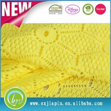 Hot sale bright color beaded fastness high quality function 100%polyester yellow lace fabric