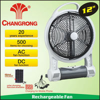 "rechargeable emergency box 12"" solar table fan with light battery"