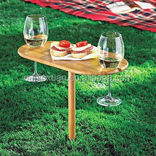 eco-friendly bamboo Outdoor Wine folding Table 2 Pcs Dating need Outdoor Oval Wine Champagne Grass Bamboo Drinking wine Table