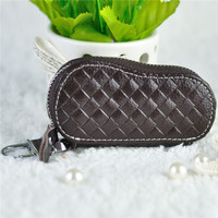 Natural leather car key pouch key hole cover