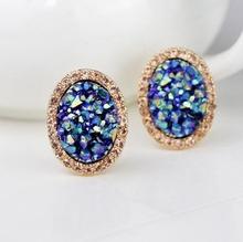 Korean star jewelry Bright crystal diamond ear clip earrings oval earring studs