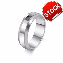 New Arrival 6MM Classic Simple Smooth Blank Stainless Steel 316L Men's Gift Ring