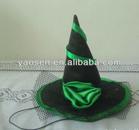 Mini witch hat with green rose and black net for Halloween decorations