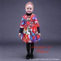 Top Sale Girls Christmas Dress Butterfly Print Half Sleeve Kids Girls Party Dress Wholesale Children Clothing GD80928-5