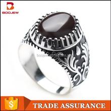 wholesale fashion jewelry 925 silver ring black agate rings arab men ring