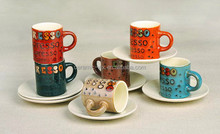 Liling Factory Best Selling Ceramic Type Reactive Glazed 90CC Small Espresso Cup Set,Coffee Cup Set, Ceramic Tea Sets