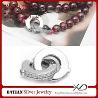 XD S1061 Double Round Circles 925 Sterling Silver Pearl Bracelet Clasps