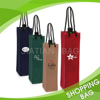 Rope Handle Wholesale Printed Non Woven Red Wine Glass Gift Bag