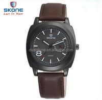 2015 SKONE Brand Men Genuine Leather Wrist Watch Multi-Function Male Business Watch Calendar Watch