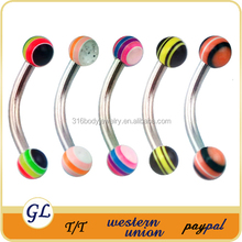 ER01032 316L surgical steel 16g multicolor acrylic balls curve eyebrow piercing