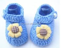 Pink Flower Handmade Infant Toddler Baby Girls Wool Princess Shoes